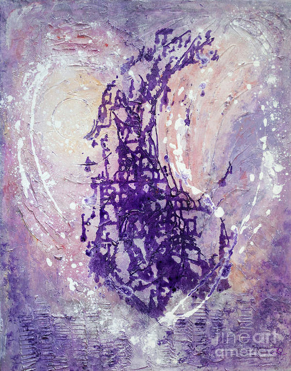 Abstract Painting Paintings Art Print featuring the painting Universal Love Pastel Purple Lilac Abstract By Chakramoon by Belinda Capol