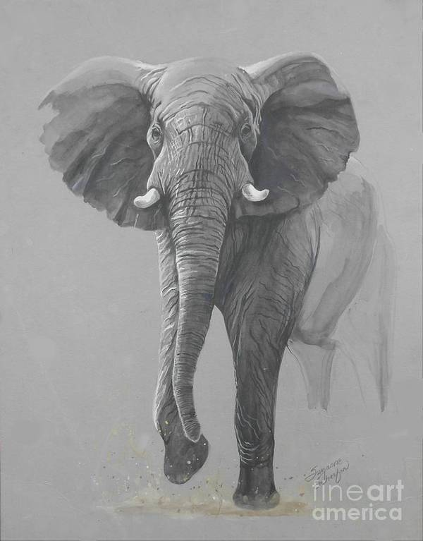 Elephant Art Print featuring the painting Vanishing Thunder by Suzanne Schaefer