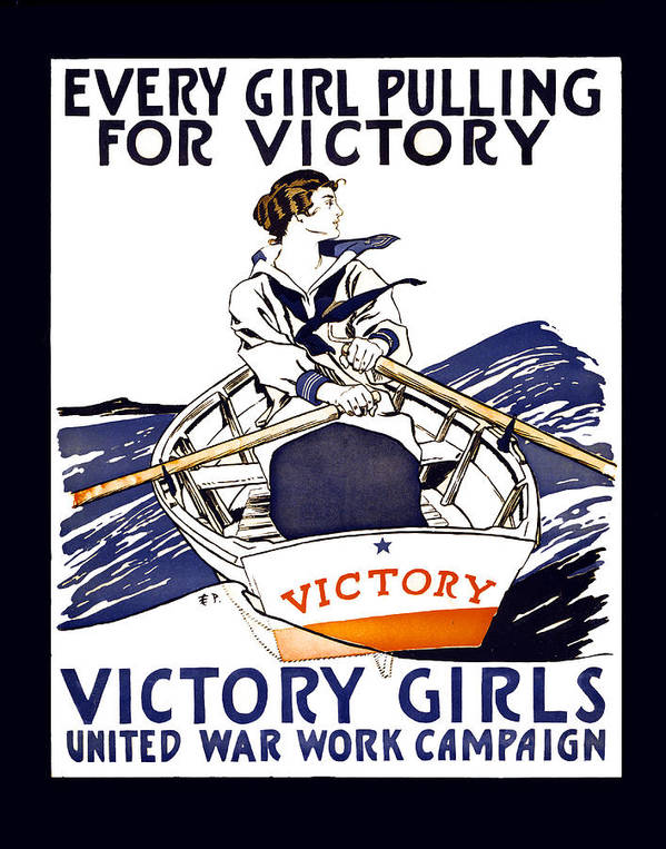 world War Art Print featuring the photograph Victory Girls Of W W 1   1918 by Daniel Hagerman
