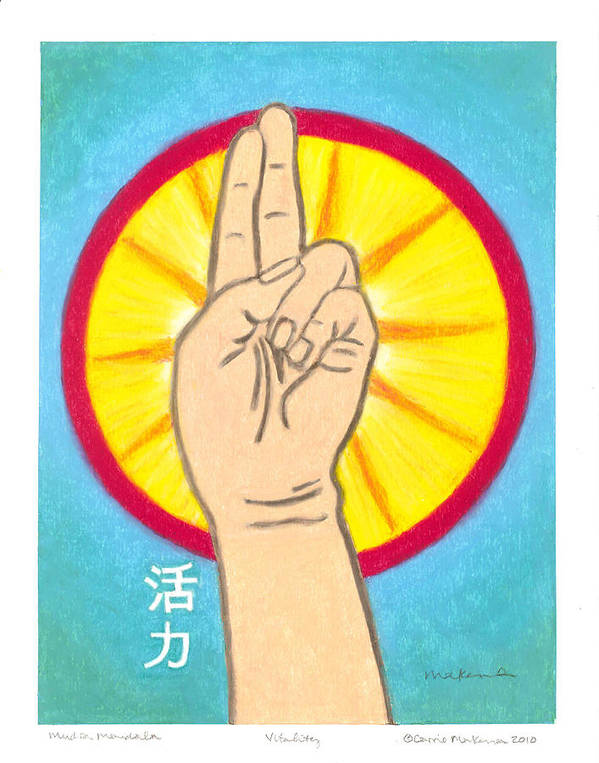 Buddha Art Print featuring the painting Vitality Mudra Mandala by Carrie MaKenna