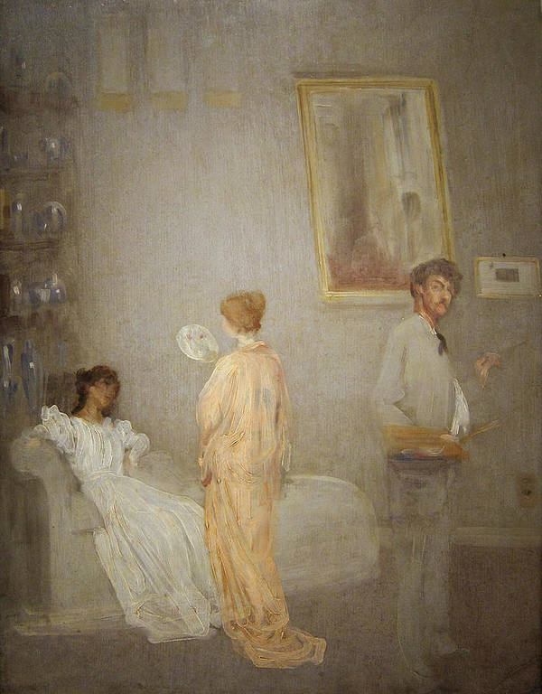 Kimono; Models; Artist; Painting; Interior; Self; Portrait; Impressionist; Male; Female; Model; Fan; Palette; Brush Art Print featuring the painting Whistler In His Studio by James Abbott McNeil Whistler