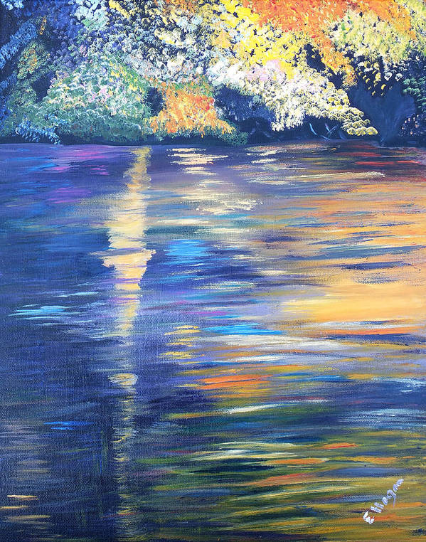 Water Art Print featuring the painting Wild Pond Reflections by Eileen Mary Hogan