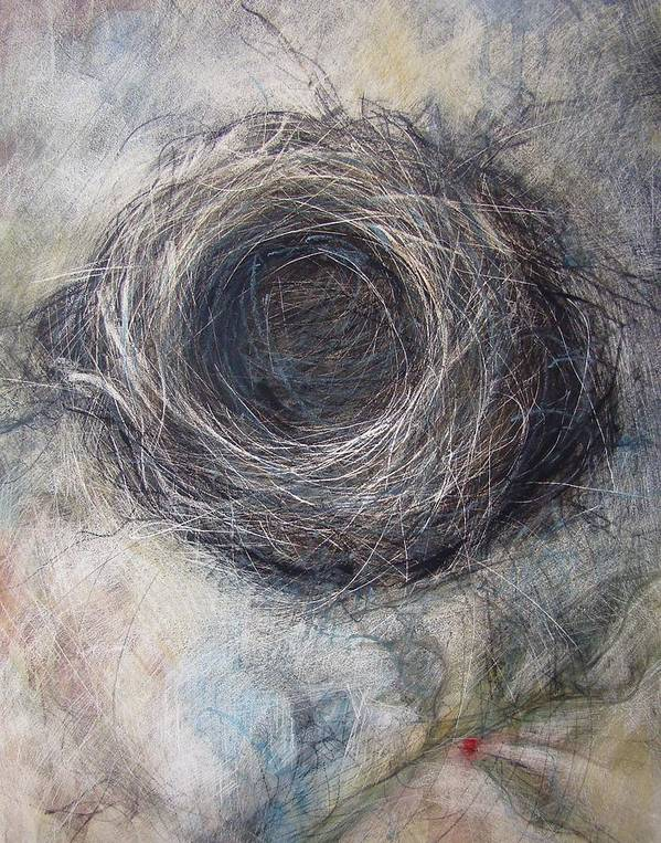 Nest Art Print featuring the mixed media Winter Nest by Tonja Sell