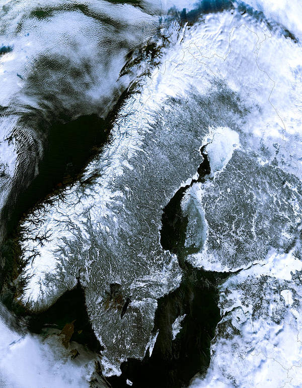 photograph about Scandinavia Map Printable referred to as Winter season Scandinavia Satellite Map Artwork Print