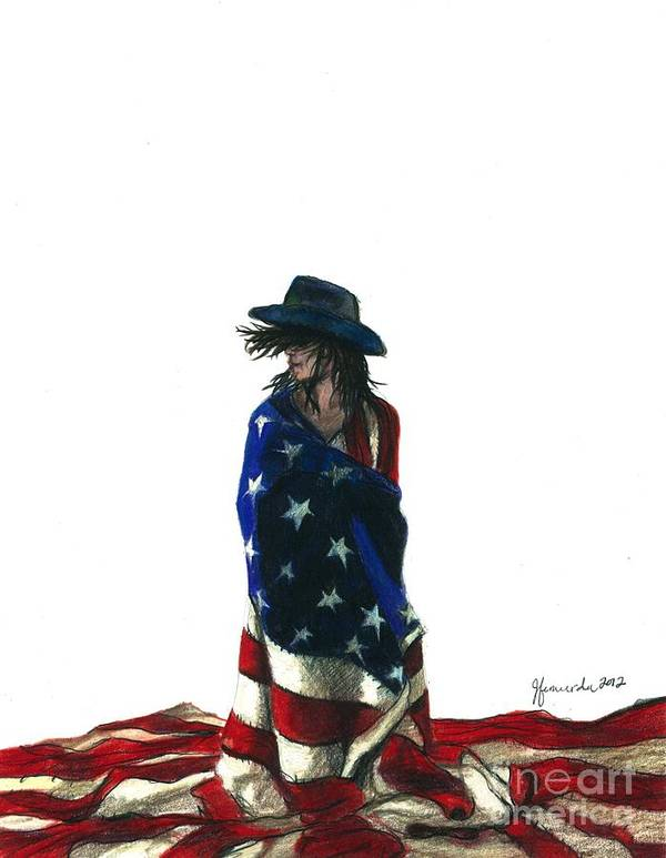 Patriotic Art Print featuring the drawing You Find Freedom Inside by J Ferwerda