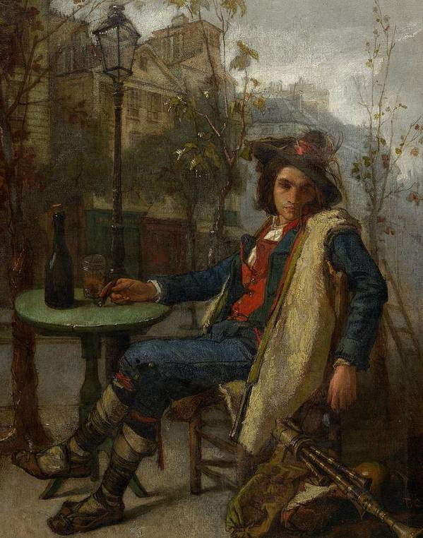 Young Italian Street Musician Print featuring the painting Young Italian Street Musician by Thomas Couture