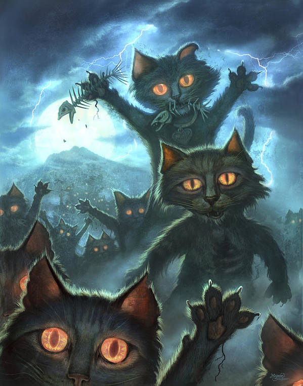 Cat Art Print featuring the painting Zombie Cats by Jeff Haynie