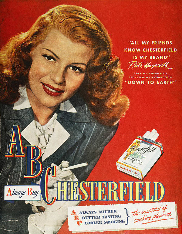 1947 Art Print featuring the photograph Chesterfield Cigarette Ad by Granger