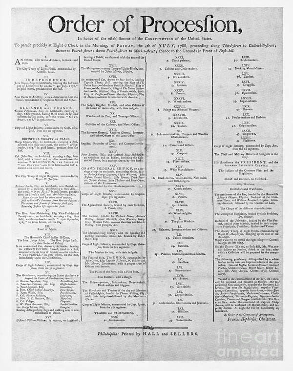 Government Art Print featuring the photograph Parade For The Us Constitution by Photo Researchers