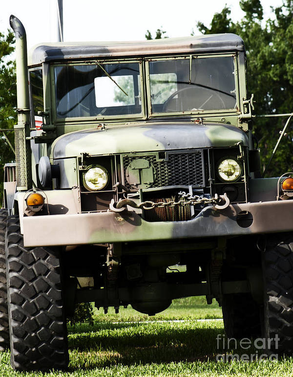 Army Art Print featuring the photograph Military Truck by Blink Images