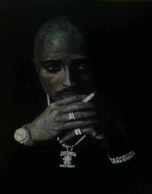 2pac Rapper Acrylic Painting Portrait Black And White Art Print featuring the painting 2pac by William McCann