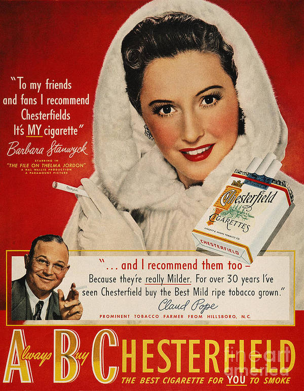 1949 Art Print featuring the photograph Chesterfield Cigarette Ad by Granger