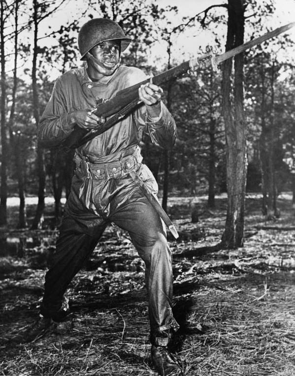 History Print featuring the photograph African-american Soldier Charging by Everett