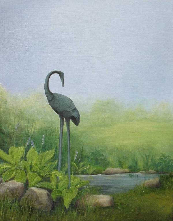 Crane Art Print featuring the painting Among The Hostas by Mary Rogers