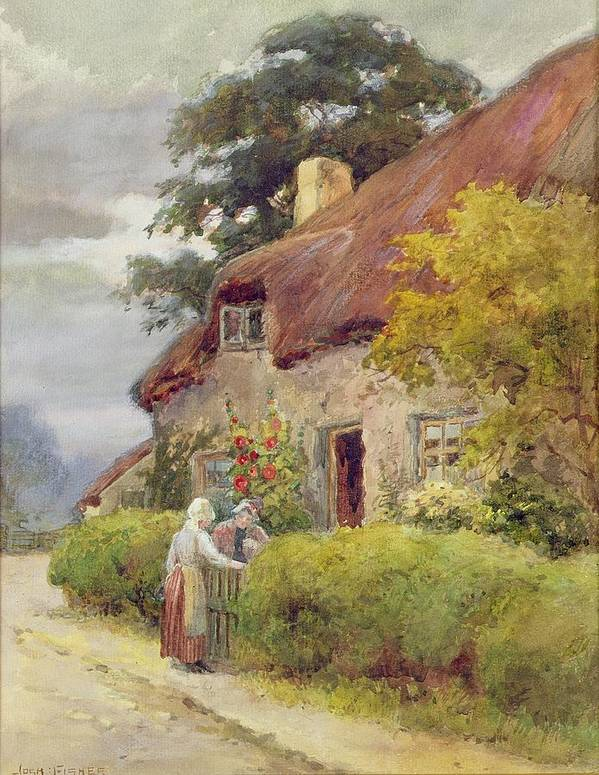 Thatched Cottage Art Print featuring the painting An Evening Gossip by Joshua Fisher