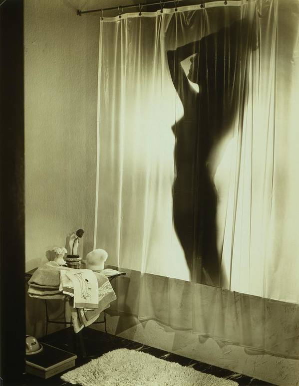 History Art Print featuring the photograph Back-lit Silhouette Of Nude Woman by Everett