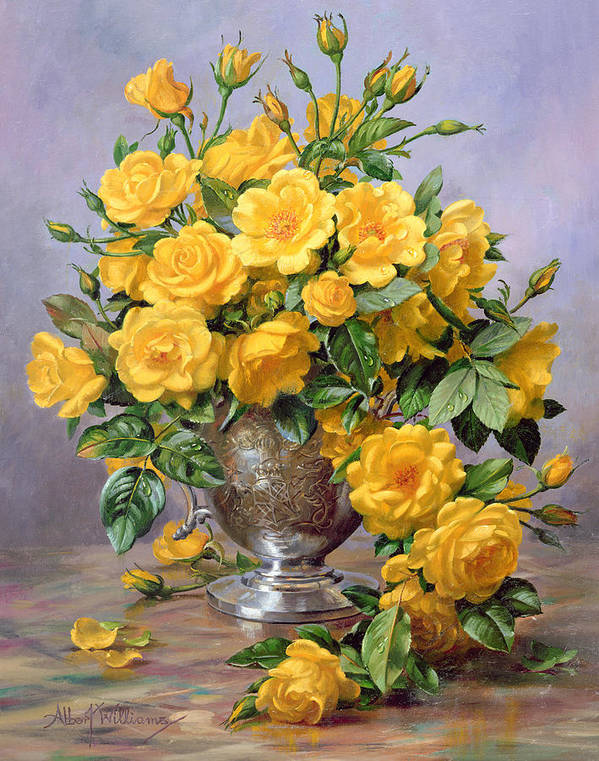 Yellow; Joyful; Rose; Still Life; Flower; Arrangement; Floral; Happiness; Roses; Vase; Silver Vase; Flowers; Rose Petals On The Floor; Roses On The Floor Art Print featuring the painting Bright Smile - Roses In A Silver Vase by Albert Williams