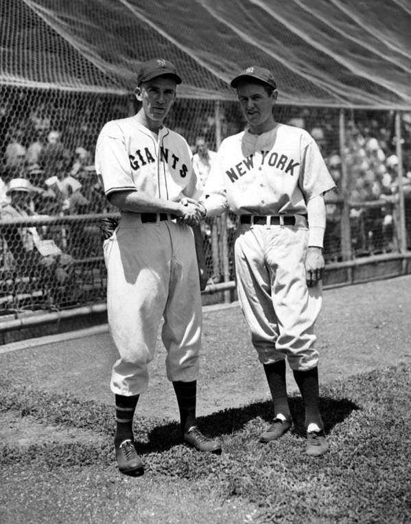 1930s Candid Art Print featuring the photograph Carl Hubbell & Vernon Lefty Gomez by Everett