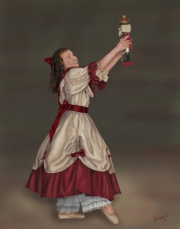 Ballet Art Print featuring the digital art Clara With Nutcracker by Lisa Binion