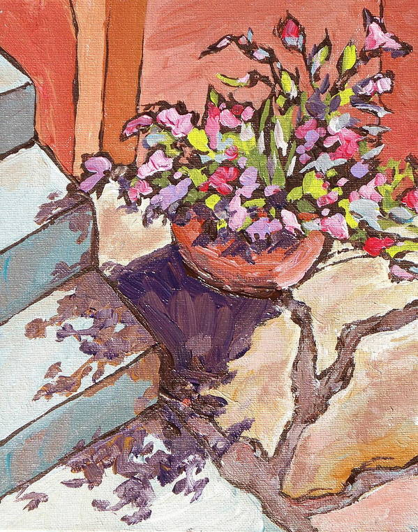 Steps Art Print featuring the painting Clay Pot by Sandy Tracey