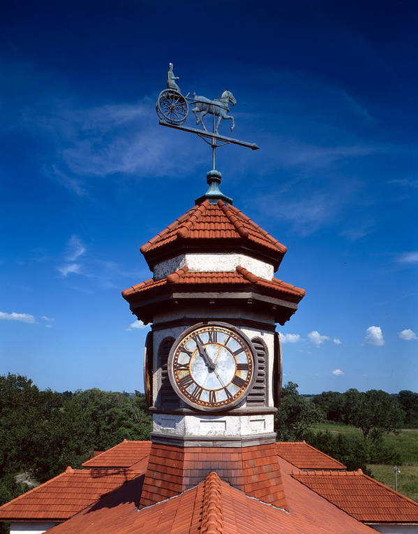 1900s Art Print featuring the photograph Clock Tower And Weathervane, Longview by Everett