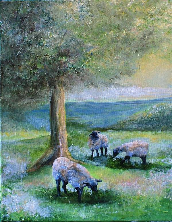 Sheep Art Print featuring the painting Ewe Hoo by Lisa Graves