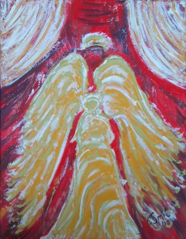 Angel Art Print featuring the painting Glow Angel by Cecile Smit