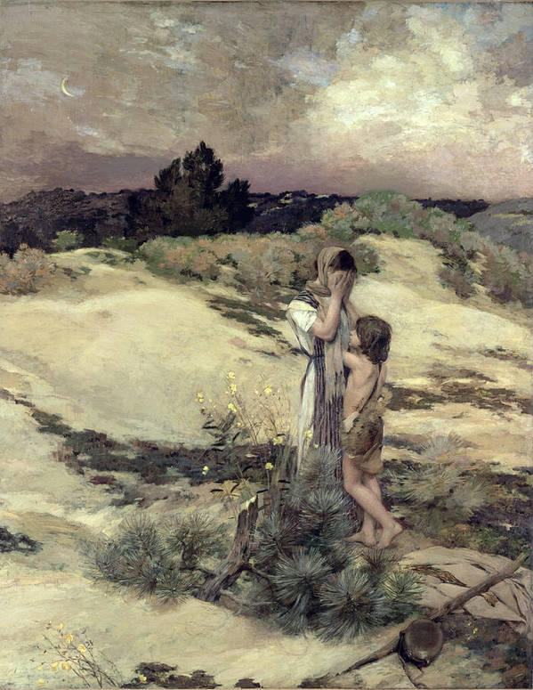 Servant; Child; Crying; Anguish; Wilderness; Abandoned; Agar; Ismael; Desert Art Print featuring the painting Hagar And Ishmael by Jean-Charles Cazin
