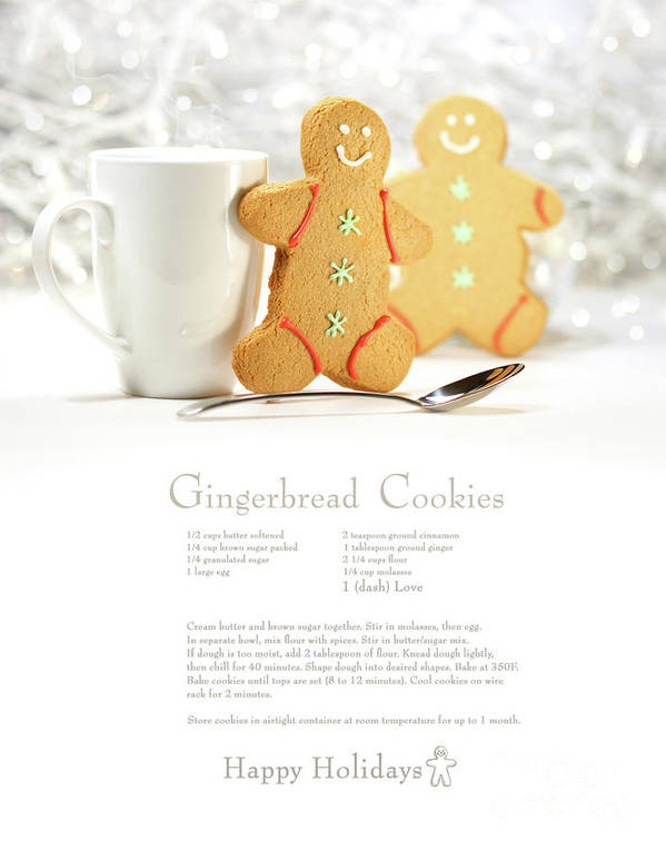 Background Art Print featuring the photograph Hot Holiday Drink With Gingerbread Cookies by Sandra Cunningham