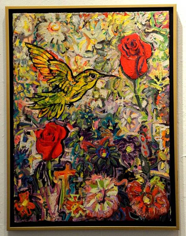 Oil Painting Art Print featuring the painting Hummingbird And Roses by John Thompson