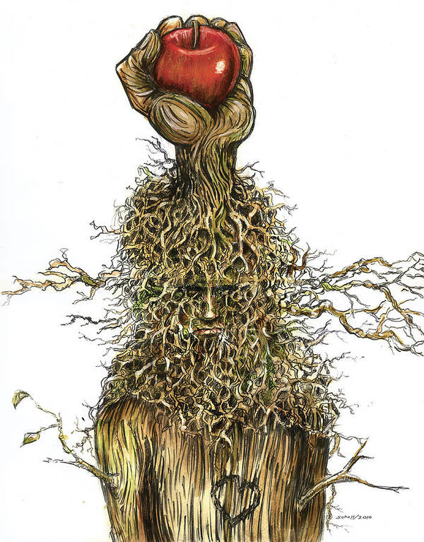 Hand Tree Roots Apple Last Breath Effort Branches Face Art Print featuring the drawing I'm Not Finished... I Have So Much More To Give. by Michael Scholl