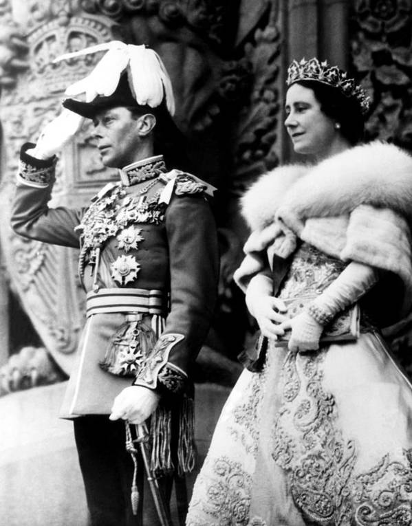 1930s Candid Art Print featuring the photograph King George Vi, Queen Elizabeth by Everett