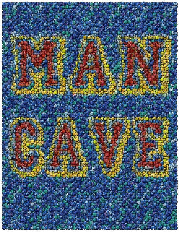 Man Cave Print featuring the mixed media Man Cave Bottle Cap Mosaic by Paul Van Scott