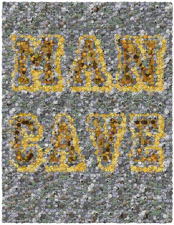 Man Cave Art Print featuring the mixed media Man Cave Coin Mosaic by Paul Van Scott