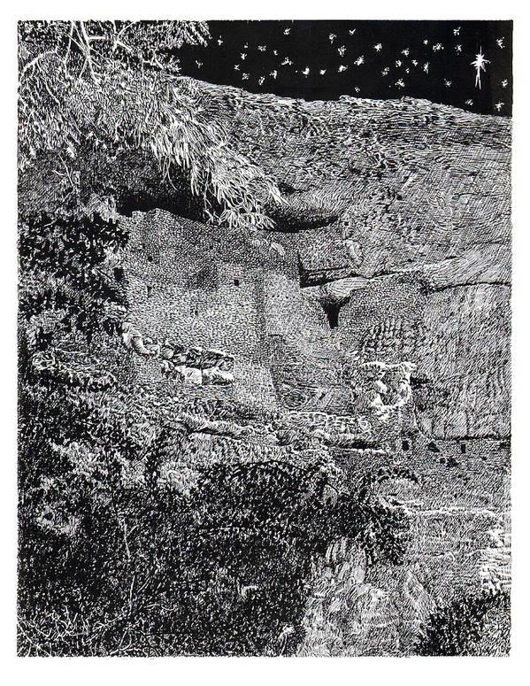Framed Prints Of Pen And Ink Art Prints Of Montezuma Castle National Monument Art Print featuring the drawing Montezuma Castle by Jack Pumphrey