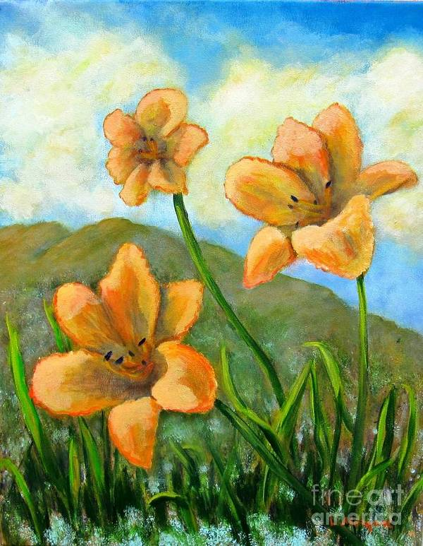 Lily Art Print featuring the painting Morning Glow by Laurie Morgan