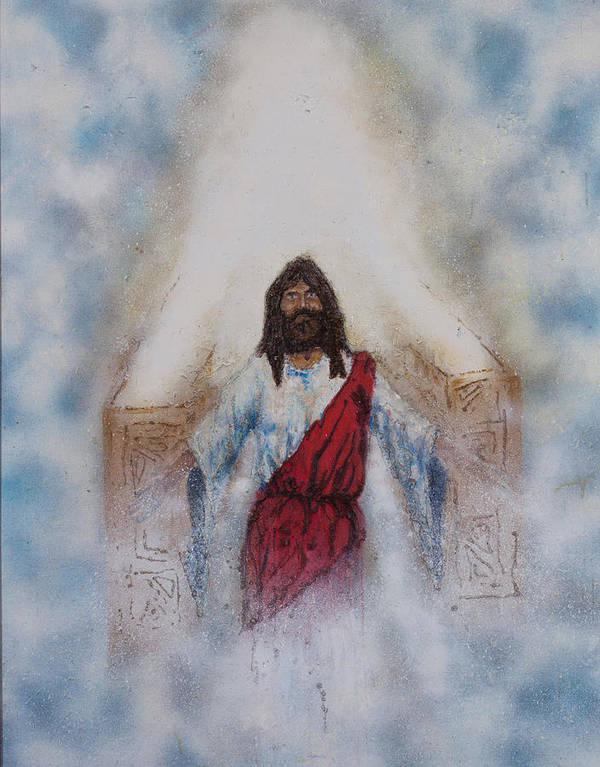 Art Art Print featuring the painting Out Of The Midst Of The Throne Came The Lamb by Thomas Lentz