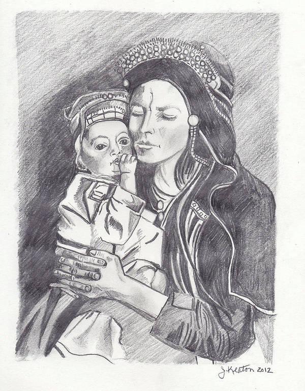 Pakistan Art Print featuring the drawing Pakistani Mother And Child by John Keaton