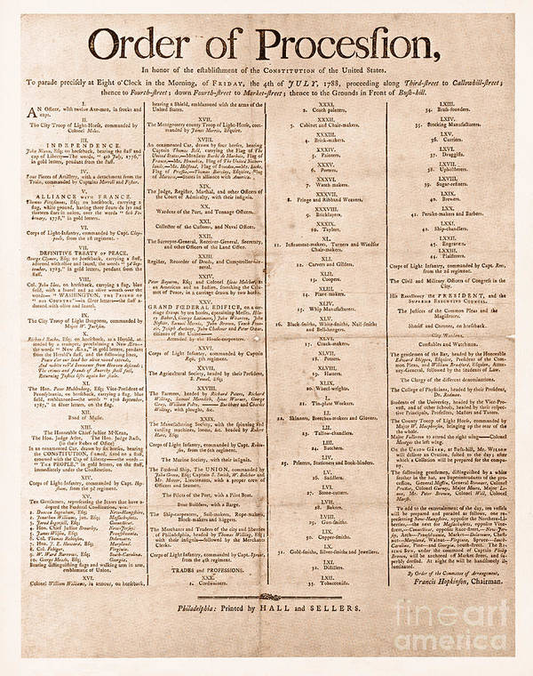Government Print featuring the photograph Parade For The Us Constitution by Photo Researchers