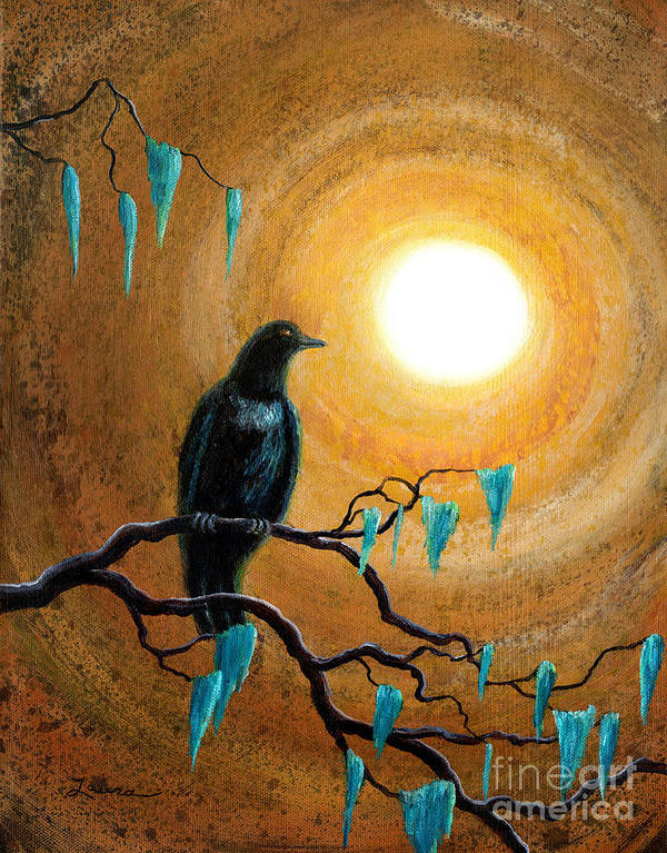 Zen Art Print featuring the painting Raven In Dark Autumn by Laura Iverson