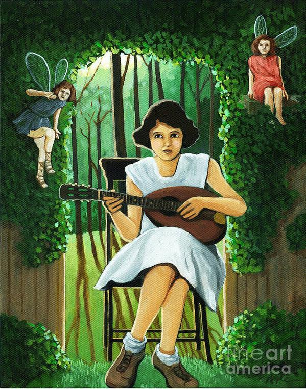 Fantasy Art Print featuring the painting Secret Garden Fantasy Fairy by Linda Apple
