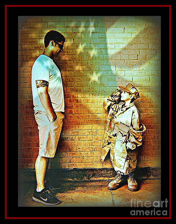 America Art Print featuring the photograph Spirit Of Freedom - Soldier And Son by Leslie Revels