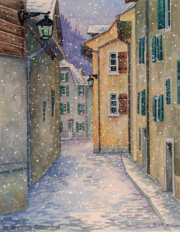Switzerland Art Print featuring the painting St Ursanne In Snow by Scott Nelson