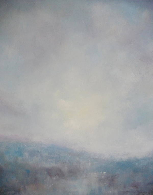 Sunset Painting Print Art Print featuring the painting Sunset Through The Mist Over Stenbury Down by Alan Daysh