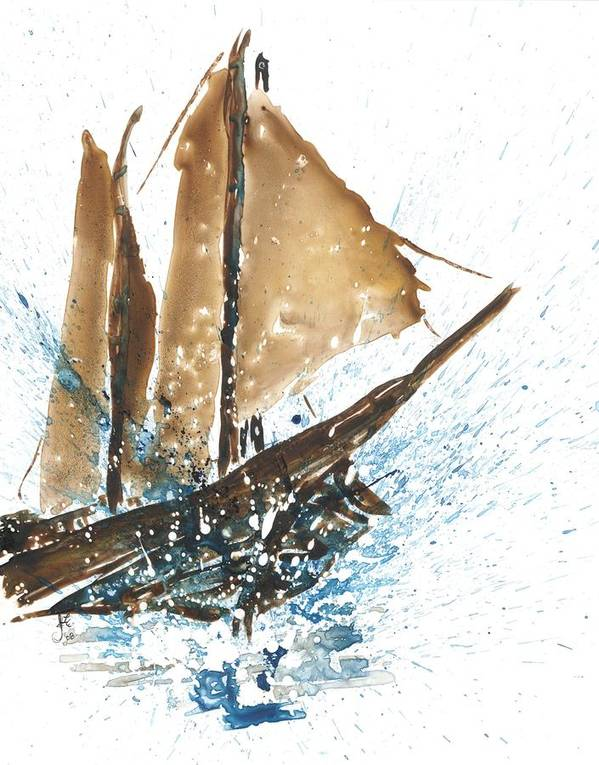 Tall Ship Art Print featuring the painting Tall Ship Xi by Janet Whitehead