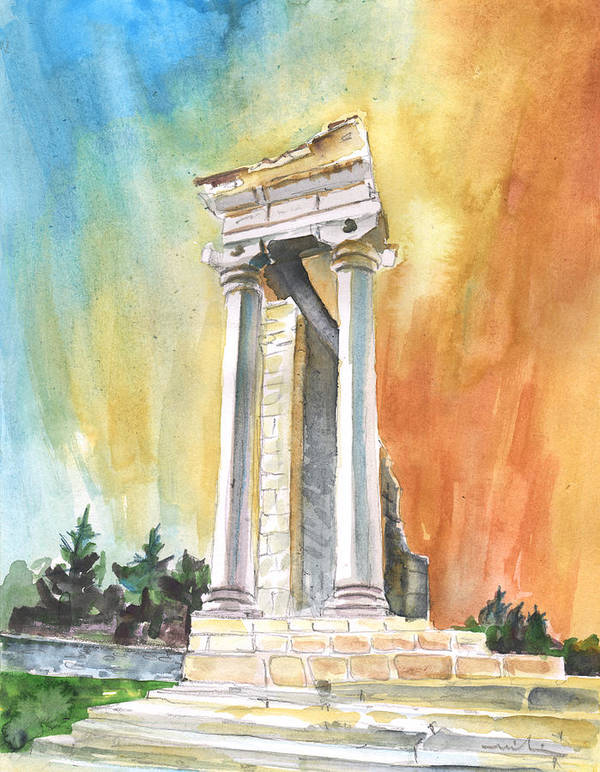 Travel Art Print featuring the painting Temple Of Apollo In Kourion by Miki De Goodaboom