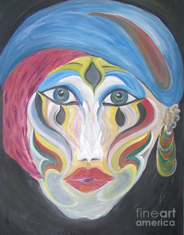 Abstracts Art Print featuring the painting The Clown Within Me by Rachel Carmichael