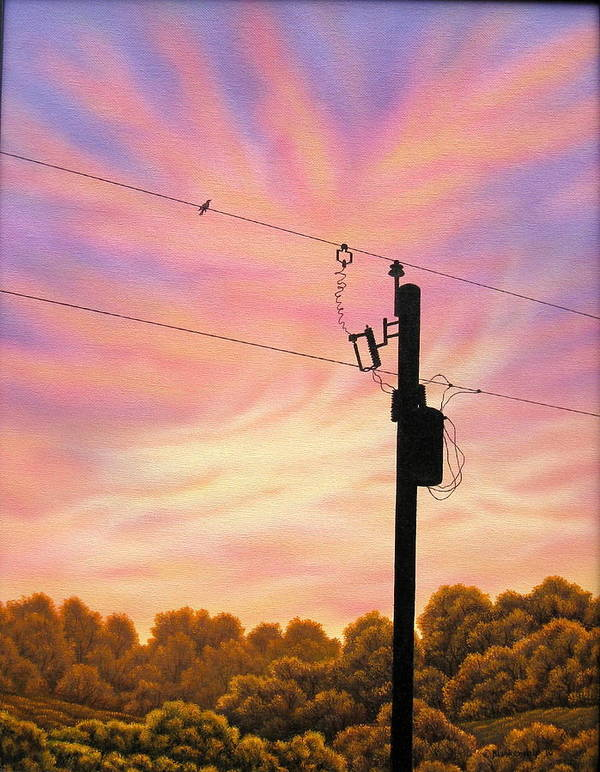 Sunsets Art Print featuring the painting The Lineman by Arley Blankenship