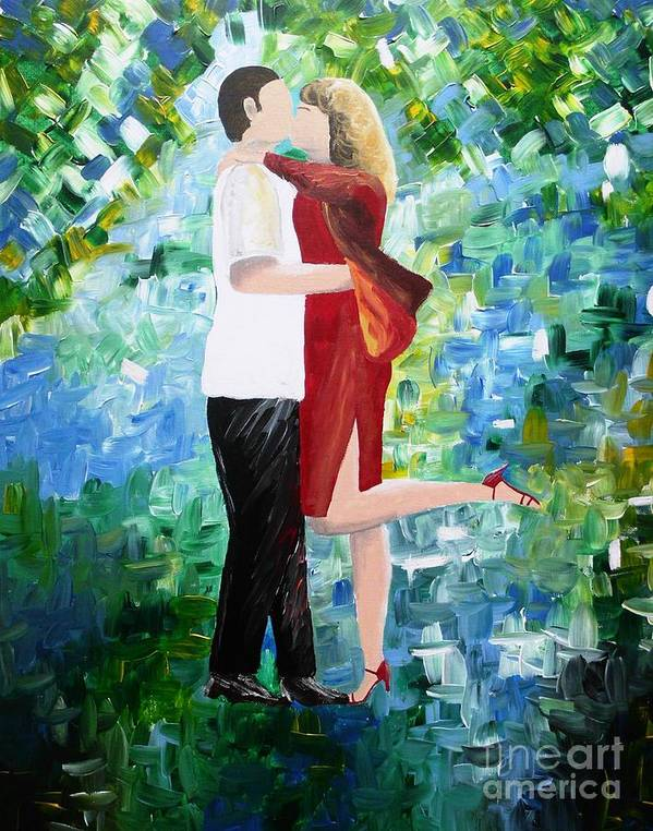 Couple Art Print featuring the painting The Moment When Nothing Else Exists by Dawn Plyler