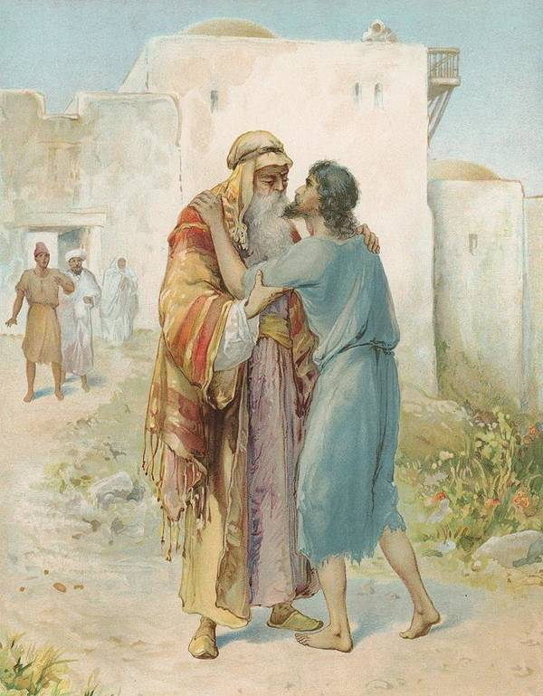 Bible Stories; Biblical; The Prodigal's Return; Return Of The Prodigal Son; Parable; Jesus Christ Art Print featuring the painting The Prodigal's Return by Ambrose Dudley